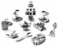 10 Afternoon Tea Charms Set, Cake Stand, Teacup Food Teapot, Alice in Wonderland