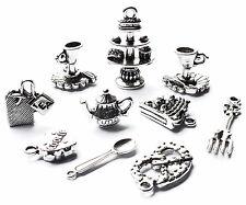 10 Afternoon Tea Charms Set, Gâteau Stand, Tasse à Thé Nourriture Théière, Alice au pays des merveilles