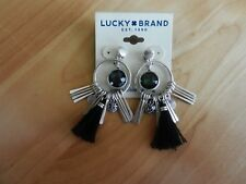 Lucky Brand Silvertone and Black Fringe Charm Convertible Earrings MSRP $35