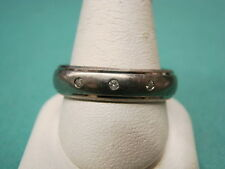 Titanium & Diamond Wedding Band Ring Sz 12