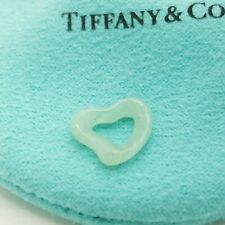 Tiffany & Co Peretti Green Aventurine Hand Carved Small Open Heart Pendant Pouch