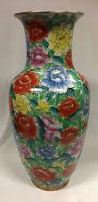 Vintage Chinese Republic Period Enamelled Floral Decorated Ceramic Vase