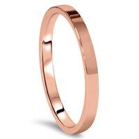 Gemini Flat Plain Court Comfort Fit Rose Gold Couple Titanium Wedding Ring Band
