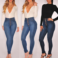 Womens Denim Skinny Long Pants High Waist Stretch Trousers Casual Pencil Jeans