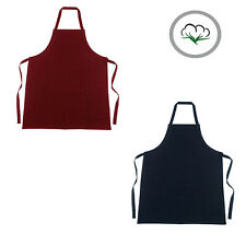 100% Cotton Apron Kitchen BBQ Catering Cleaning Bar - Black or Burgundy