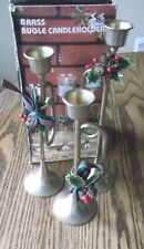 """Vintage Set of 3 Tiered 7"""" 8"""" 9"""" Brass Bugle Candleholders Holly Taiwan Euc"""