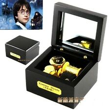 Square Black Wood Wind Up Music Box :Hedwig's Theme Soundtrack / Prologue