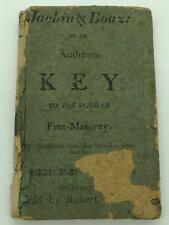 Jachin & Boaz: Or An Authentic Key To The Door Of Free Masonry 1818 Masonic Book