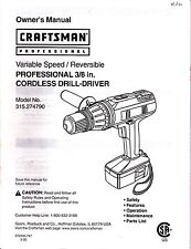 "Craftsman--3/8 inch cordless drill/driver--Model 315.274790--OWNER""S MANUAL"