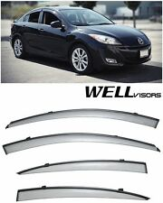 For 10-13 Mazda 3 Sedan WellVisors Side Window Visors W/ Black Trim