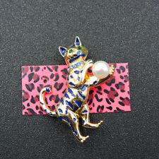 Betsey Johnson Animal Charm Brooch Pin Blue Enamel Cute Pearl Cat Crystal
