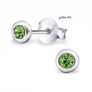 Girls Ladies 925 Sterling Silver 4mm Round Green Crystal Stud Earrings - Gift...