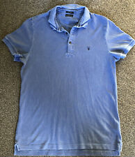 All Saints Mens Distressed Blue Polo Shirt Size Large