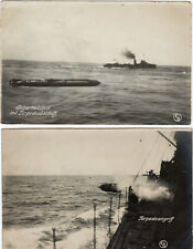 4x Foto AK Marine Schiffe 1.WK Torpedo- abschuß-angriff-übernahme Matrosen