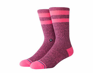 Stance UnCommon Solids Classic Joven Pink Black Crew Socks M556C17JOV-PNB Medium