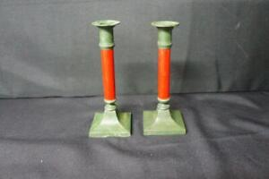 """Pair Vintage Cast Iron Green  and Wood Red Candlesticks 8"""" Tall"""