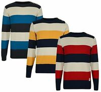 New Crosshatch Men's Striped Sweater Cotton Crew Knit Stripe Pullover Jumper Top
