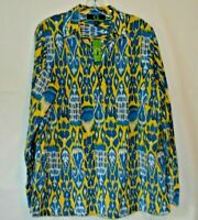 C WONDER by Chris Burch Kenyan Ikat Print Tunic Cotton Silk Size XL
