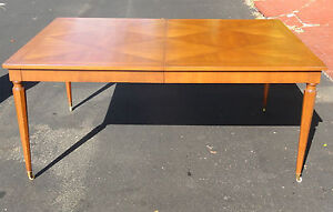 RARE 1950s WALTER WABASH DINING TABLE w/ PARQUETRY TOP & HEXAGONAL LEGS 2 LEAVES