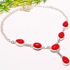 "Coral Gemstone Handmade Ethnic Fashion Jewelry Necklace 18"" SN-589"