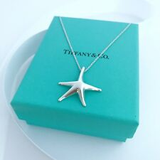"Tiffany & Co. Silver Elsa Peretti Large Starfish Pendant Necklace 16""/packing!!"