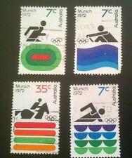 4 x Australia Munich 1972 7c 35c Used Stamps
