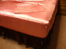 Cotton Candy Pink 100% Polyester Satin King Sized Fitted/Flat Sheet & Pillowcase