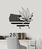 Vinyl Wall Decal USA Map Hemp Cannabis Weed Marijuana Stickers Mural (g1316)
