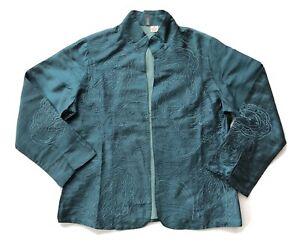 Anu Silk Embroidered Blazer Jacket Womens Size M Open Front Nehru Teal Green
