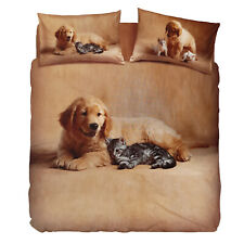 Set copripiumino 1 piazza BASSETTI COCCOLE Golden Retriever Gattino