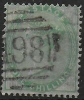 SG72. 1s.Green. Wmk.Emblems. Lightly Used With A 498 Manchester Cancel. Ref:0343