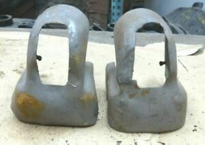 1937 1938 Chevy Master 85 FRONT SPRING Shackle COVERS Original pair Bumper Brkt