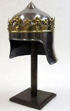 MEDIEVAL MONARCH KNIGHT King Richard Lionheart Two Tone CROWN HELMET ARMOR New