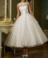 Vintage Tea-Length Ball Gown Tulle Wedding Dress Lace Applique Bridal Gowns 2019
