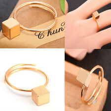 Men's Gold Square Geometry Block Open Band Rings Adjustable Luxury Jewelry Gift