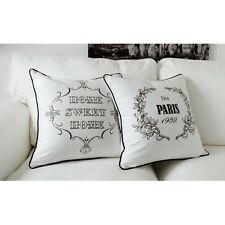 18x18'' Home Sweet Home / Paris French Provincial Cotton Canvas Cushion Cover