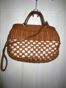 EMPORIO ARMANI Woven Leather Shoulder Bag