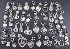Wholesale 40pcs Tibetan Silver Love Heart Dangle Beads Fit Charm Bracelet jf777