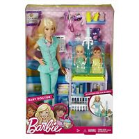 Barbie BABY DOCTOR Playset W/ Barbie Doll & 2 Cute Baby Dolls by Mattel (DVG10)