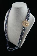 """36/37"""" 8-9mm Double-Strand Peacock Pearl Necklace with Flower Shaped Ornament"""