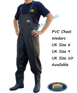 Lineaeffe PVC Chest Waders Sizes 8 9 10 in Black Carp Coarse Fly Fishing Tackle