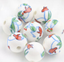 Wholesale  Natural Ceramic Porcelain Flower  Round Spacer Loose Beads 12MM