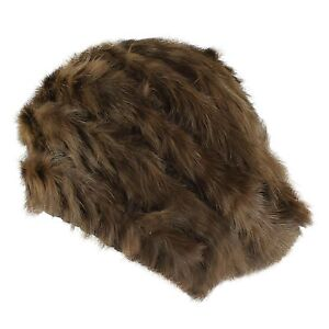 Faux Fur Crochet Mesh Knit Beanie Beret Warm Winter Ski Hat Women