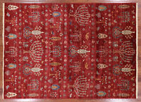 "Gabbeh Hand Knotted Wool Tribal Area Rug 5' 7"" X 7' 9"" - Q3095"