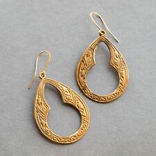 Ethnic Brass Drop Dangle Earrings, Vintage Bohemian Jewellery, Boho Ear Hooks