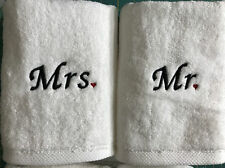 Mr and Mrs with Heart Embroidered Hand Towel Set / Personalized / Embroidered /