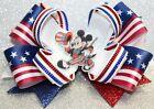 Patriotic Mickey Mouse Themed Handmade Hairbow Hair Bow