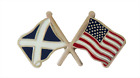 United States Of America USA Flag & Scotland Flag Friendship Pin Badge