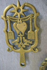 "Vintage Wilton 8.75"" Brass Kitchen Pot Hot Dish Trivet Doves Brooms Hearts Star"