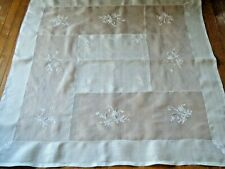 Old Tablecloth luncheone vtg Rice Linen w raised embr/ry whitework set 6 napkins